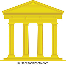 Gold tuscan temple isolated on white background.