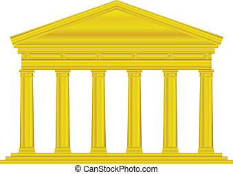 Gold tuscan temple isolated on white background