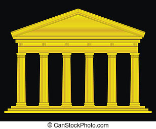 Gold tuscan temple isolated on black background
