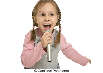 Little girl singing with microphone on white background