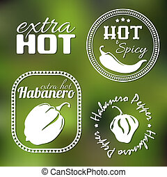 Extra hot pepper labels - Extra hot chili and habanero...