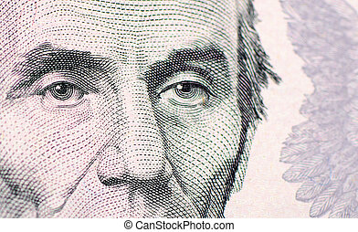 The face of Lincoln the dollar bill macro - The face of...