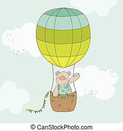 Baby Shower or Arrival Card - Baby Bear with Air Balloon -...