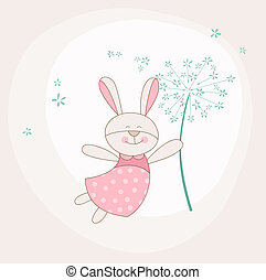 Baby Shower or Arrival Card - Baby Bunny with Flower - in...