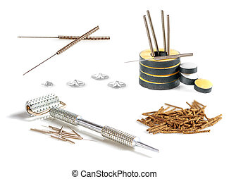 Set of tools and accessories for acupuncture