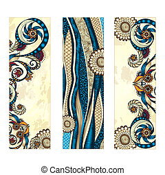 Abstract vector hand drawn ethnic pattern card set. Series...