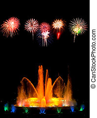Montjuic magic fountain in Barcelona at night
