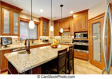 Luxury kitchen room with marble counter island - Luxury...