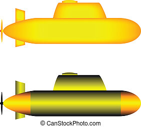 Two yellow submarines isolated on white background.