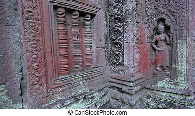Ta Prohm Angkhor temple panning - Panning camera inside the...