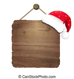 Wooden Sing With Santa Claus Cap, With Gradient Mesh, Vector...
