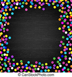 Black Wood Background With Confetti, Vector Illustration