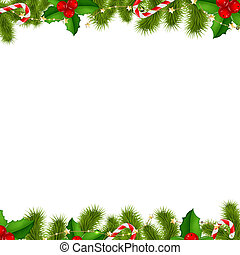 Border Fir Tree Branches Background, With Gradient Mesh,...