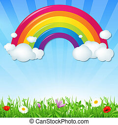 Color Rainbow With Clouds Grass And Flowers, With Gradient...