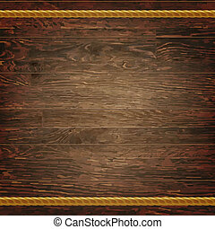 Dark Wood Texture With Rope, With Gradient Mesh, Vector...