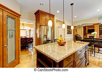 Luxury kitchen room with marble counter island