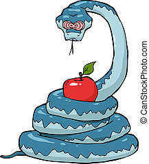 Biblical serpent with an apple on a white background vector...