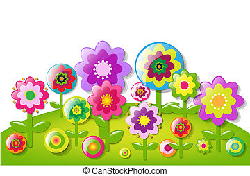 Cartoon Flowers Border With Gradient Mesh, Vector...