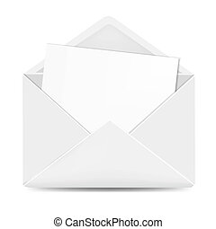 Open White Envelope With Paper With Gradient Mesh, Vector...