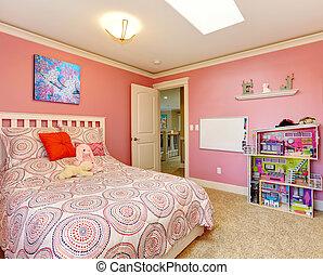 Beautiful pink bedroom for girls - Gentle girls bedroom with...