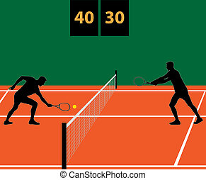 tennis match on clay vector illustration