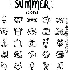 Set of 25 vector summer icons