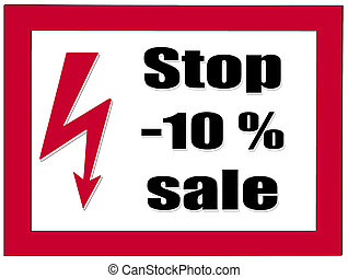 Letter plate with notice: stop -10% sale - Red, white letter...