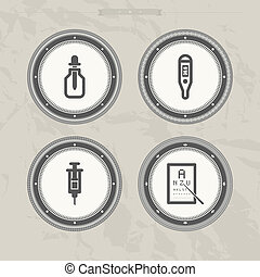 Healthcare and hospital theme icons - bottle and dropper,...