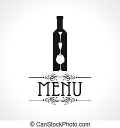menu card with wine glass & bottle - Illustration of...