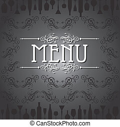 template for menu card with cutlery