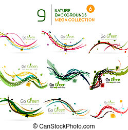 Spring | Summer wave floral nature background set