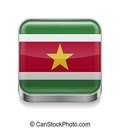 Metal icon of Suriname - Metal square icon with flag colors...