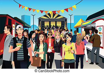 People in street food festival - A vector illustration of...
