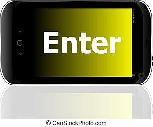 Web development concept: smartphone with word enter on display