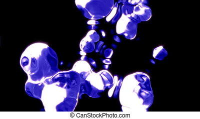 Liquid balls falling on the black background. Easy to keying...