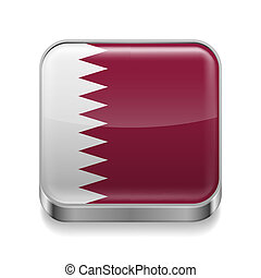 Metal icon of Qatar - Metal square icon with flag colors of...