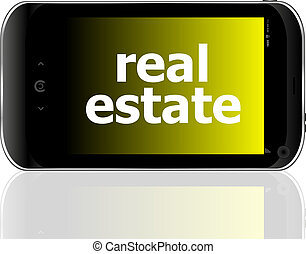digital smartphone with real estate words, business concept