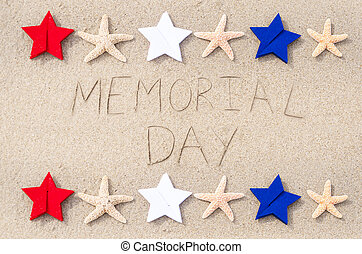 Memorial day background on the sandy beach