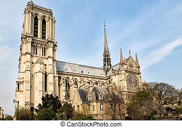Cathedral Notre Dame in Paris and river Seine