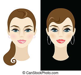 Young woman with daytime and nighttime makeup. Vector...