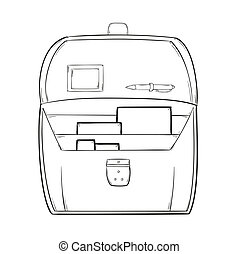 sketch of the open briefcase with documents