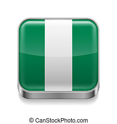 Metal icon of Nigeria - Metal square icon with flag colors...