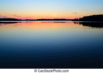 Evening calmness Lake Engozero, North Karelia, Russia