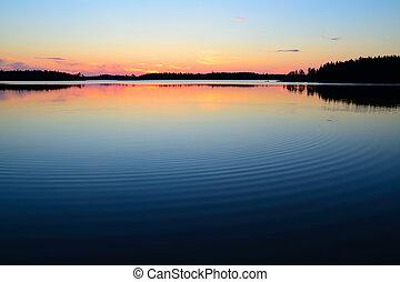 Evening calmness. Lake Engozero, North Karelia, Russia