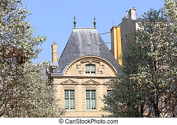 Old building in Paris in the spring