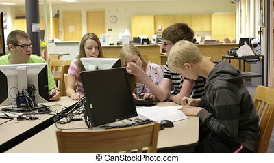 Students in school library
