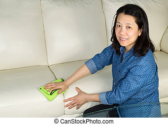 Mature woman cleaning Sofa with Microfiber Rag - Horizontal...