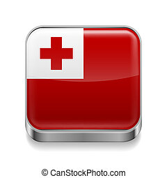 Metal icon of Tonga - Metal square icon with flag colors of...