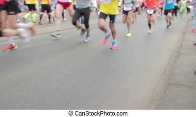 People running at half Marathon - PRAGUE, CZECH REPUBLIC -...