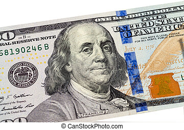 Benjamin Franklin portrait from 100 dollars banknote